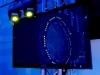 Truss TV Mount on Truss NAMM with Intimidator Spot Duos on top